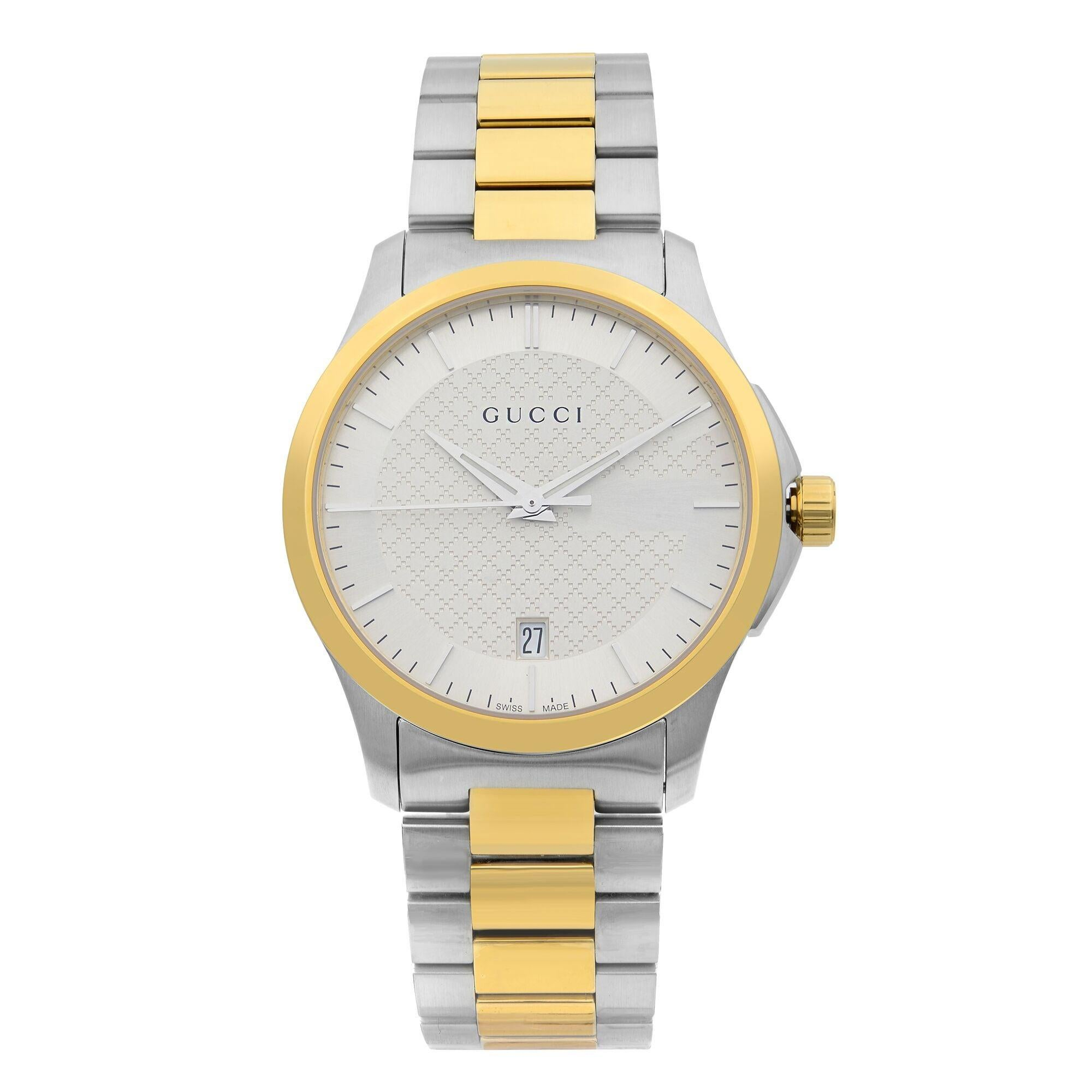 Gucci G-Timeless Two-Tone Stainless Steel Silver Dial Quartz Mens Watch YA126450