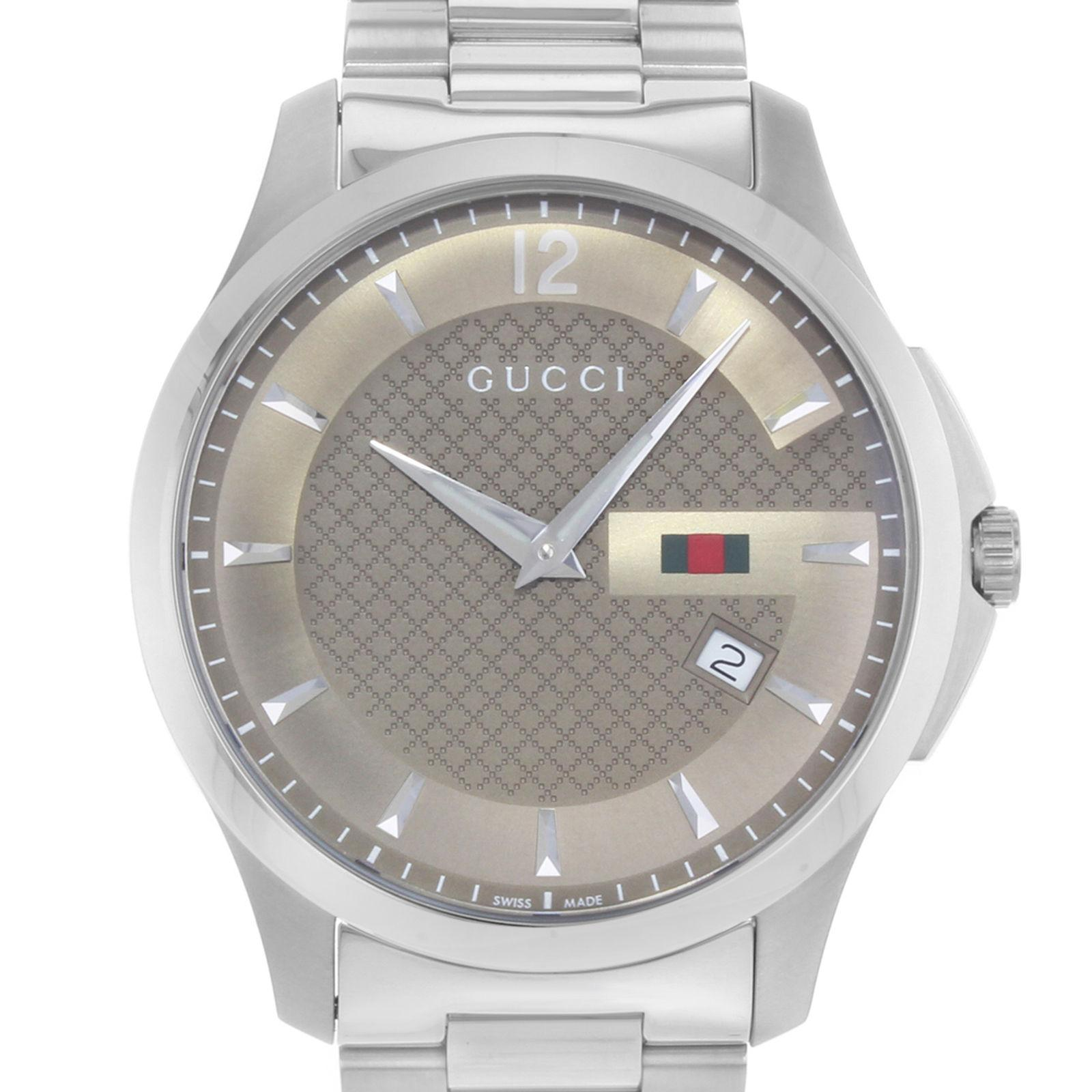 7ad3059cd21 Gucci G-Timeless YA126310 Brown Dial Stainless Steel Quartz Men s Watch For  Sale at 1stdibs