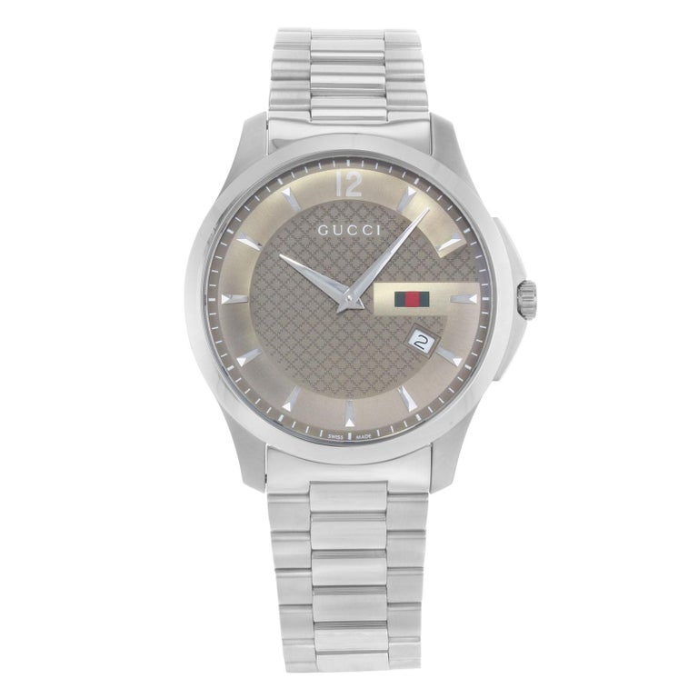 b2d7968a164 Gucci G-Timeless YA126310 Brown Dial Stainless Steel Quartz Men s Watch For  Sale