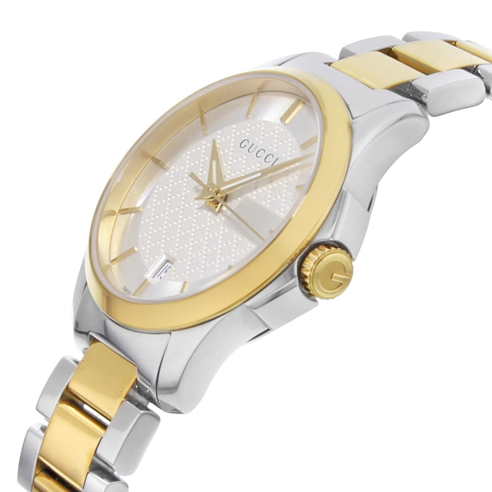 76f0879488f Gucci G-Timeless YA126531 Two-Tone Ion-Plated Steel Quartz Ladies Watch at  1stdibs