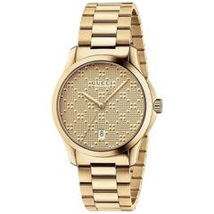 GUCCI G-timeless Yellow Gold Diamond Pattern Dial Quartz Unisex Watch YA126461