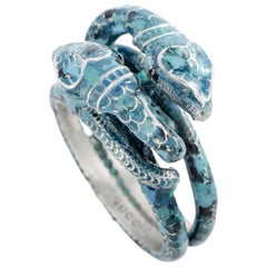 Gucci Garden Silver and Blue Enamel Snake Motif Ring