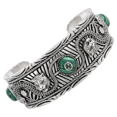 Gucci Garden Silver and Green Resin Feline Detail Cuff Bracelet