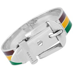 Gucci Garden Sterling Silver and Burgundy/Yellow/Green Enamel Bracelet