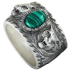 Gucci Garden Sterling Silver and Green Resin Feline Head Motifs Ring