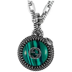 Gucci Garden Sterling Silver and Malachite Snake Motif Necklace