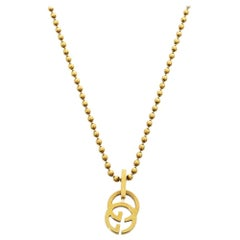 Gucci GG 18K Yellow Gold Beaded Chain Pendant Necklace