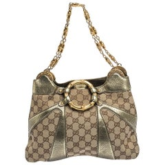 Gucci GG Canvas and Leather Limited Edition Tom Ford Bamboo Shoulder Bag