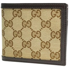 GUCCI GG canvas Mens Folded wallet 237359 beige x dark brown