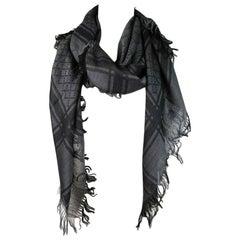 Gucci GG Guccissima Black and Grey Survive Silk Scarf Shawl Wrap