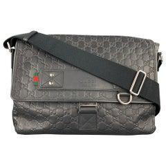 GUCCI GG Guccissima Black Monogram Leather Messenger Bag