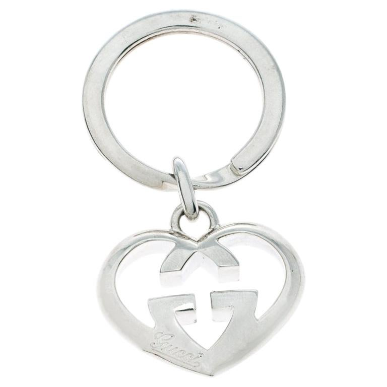 Gucci GG Heart Love Britt Silver Key Chain For Sale