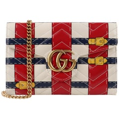 GUCCI GG Marmont 2017 Trompe L'oeil Calfskin Leather Crossbody Chain Wallet Bag