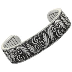 Gucci GG Marmont Aged Sterling Silver Double G Motif Bracelet
