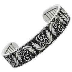 Gucci GG Marmont Aged Sterling Silver Double G Motif Cuff Bracelet