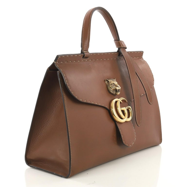 f23d4c8200b4 Brown Gucci GG Marmont Animalier Top Handle Bag Leather Medium For Sale