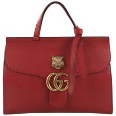 Gucci GG Marmont Animalier Top Handle Bag Leather Medium