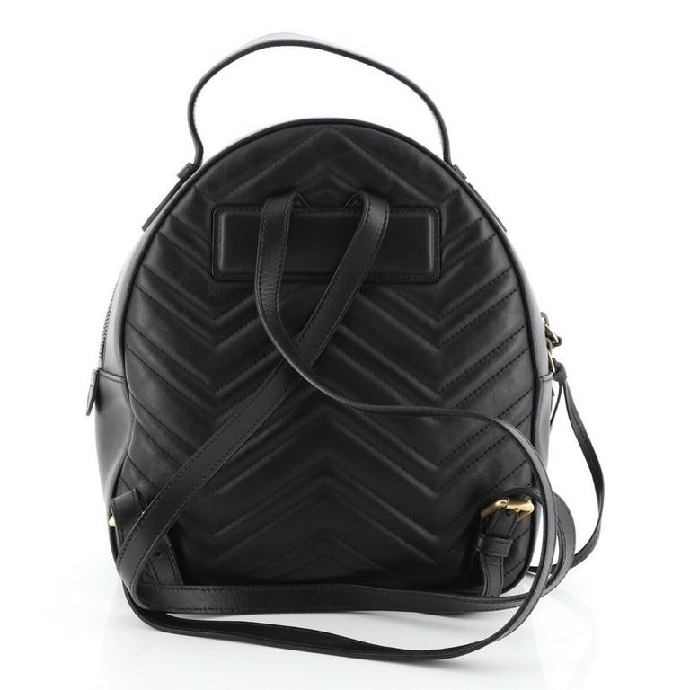 Gucci GG Marmont Backpack Matelasse Leather Small In Good Condition For Sale In New York, NY