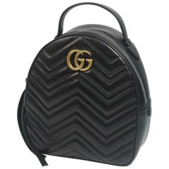 GUCCI GG Marmont Backpack Womens ruck sack Daypack 476671 black x gold hardware