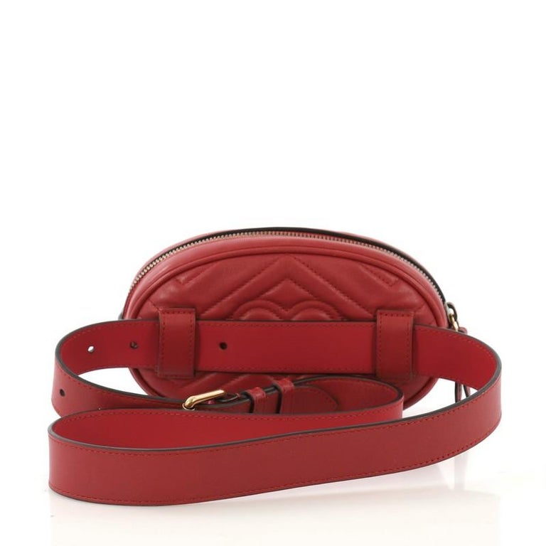 Red Gucci GG Marmont Belt Bag Matelasse Leather