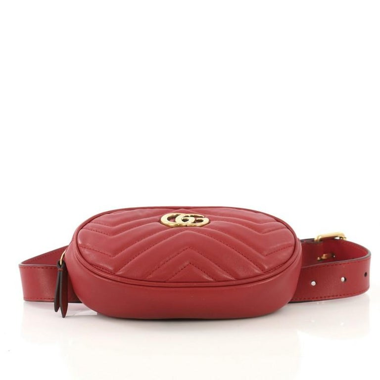 Gucci GG Marmont Belt Bag Matelasse Leather In Good Condition In New York, NY