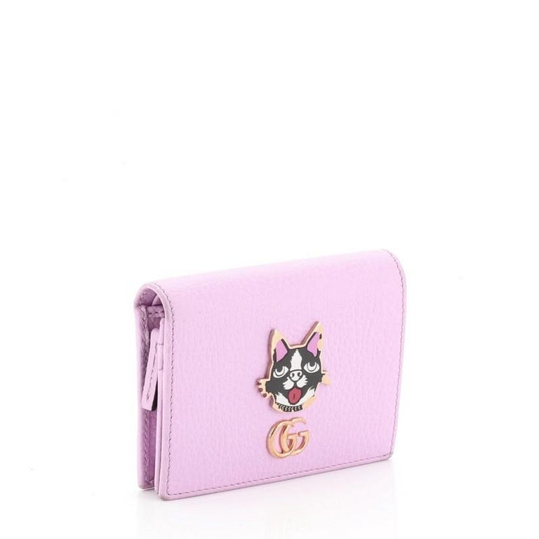 Gucci GG Marmont Card Case Embellished Leather In Good Condition For Sale In New York, NY