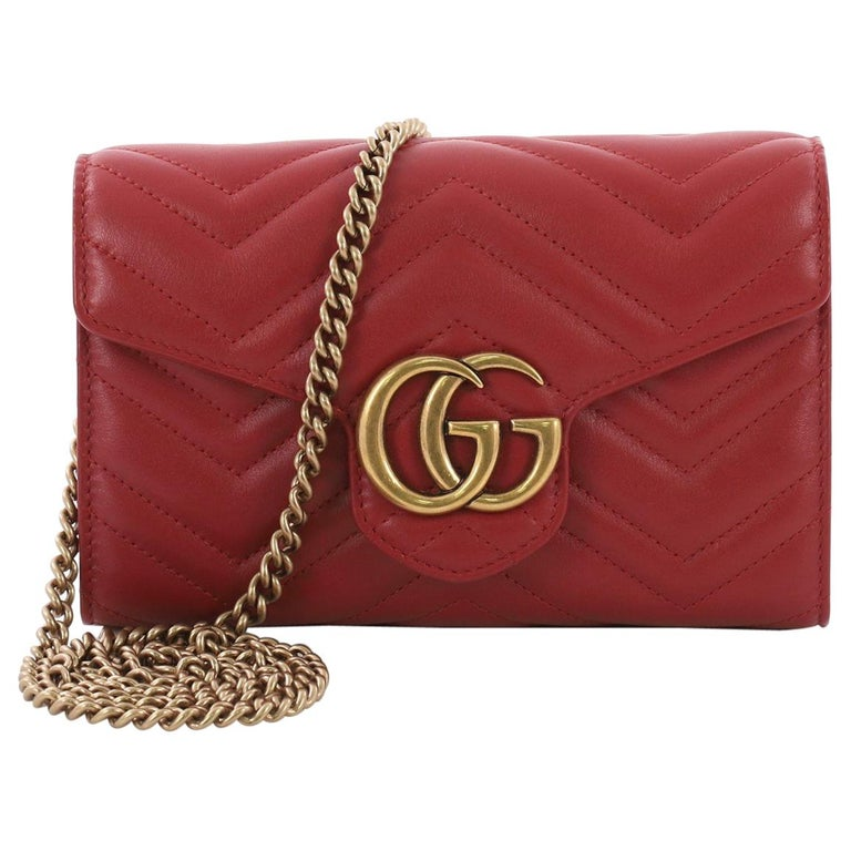 Gucci GG Marmont Chain Wallet Matelasse Leather Mini at 1stdibs e21665cb448a8