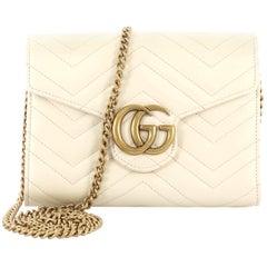 Gucci GG Marmont Chain Wallet Matelasse Leather Mini