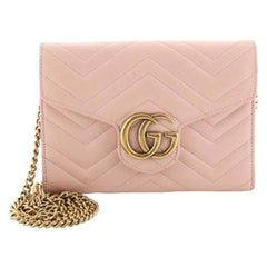 Gucci GG Marmont Chain Wallet Matelasse Leather Mini