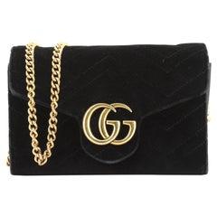 Gucci GG Marmont Chain Wallet Matelasse Velvet Mini