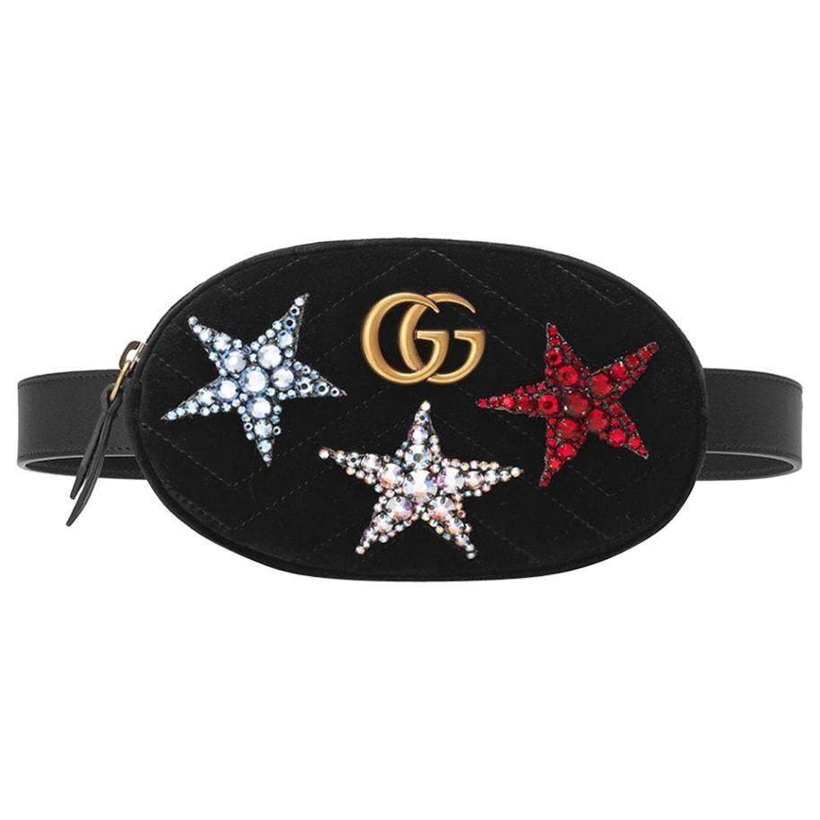 Gucci GG Marmont Crystal-Embellished Quilted-Velvet and Leather Belt Bag