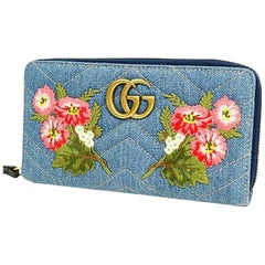 GUCCI GG Marmont Denim chevron stitch round zipper long wallet Womens long walle