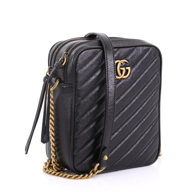 86b1692537e3 Black Gucci GG Marmont Double Zip Camera Bag Matelasse Leather Mini For Sale