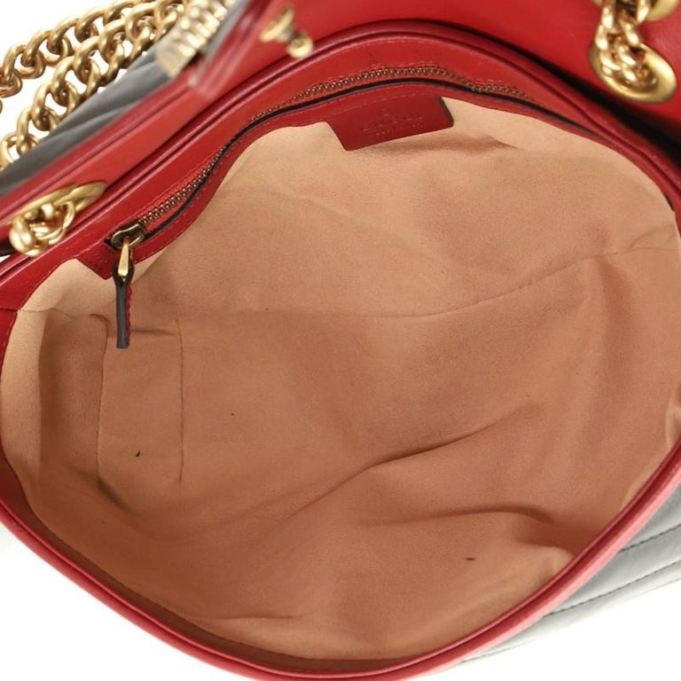 Gucci GG Marmont Flap Bag Diagonal Quilted Leather Small For Sale 2