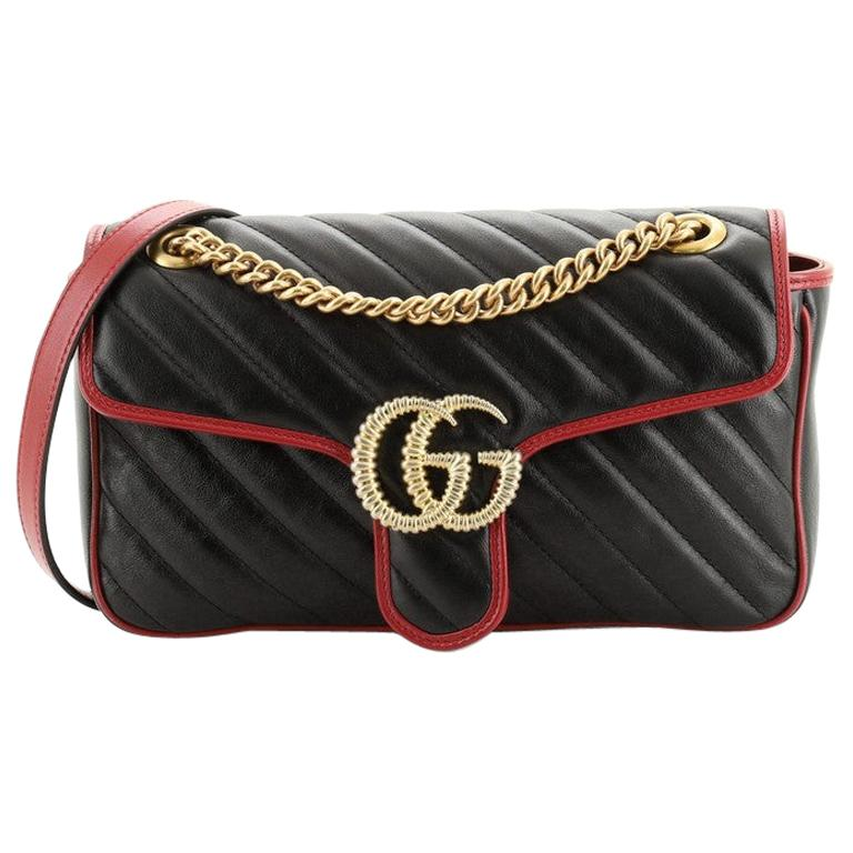 Gucci GG Marmont Flap Bag Diagonal Quilted Leather Small For Sale