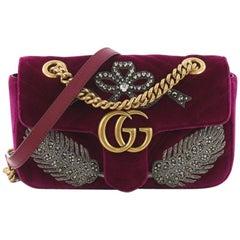 Gucci GG Marmont Flap Bag Embellished Matelasse Velvet Mini