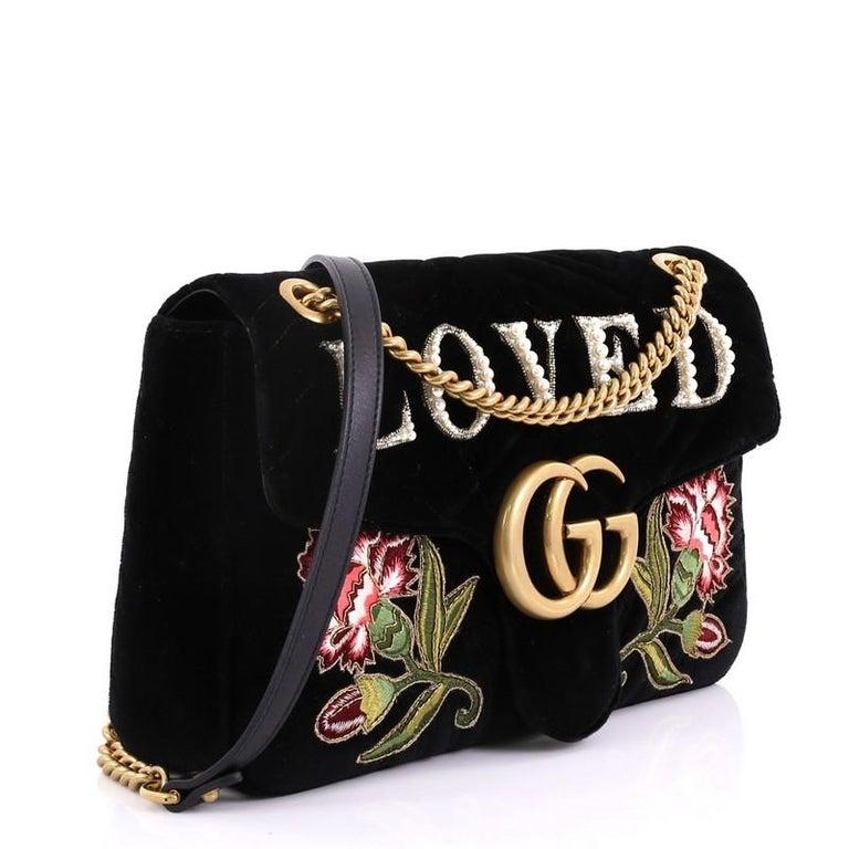 0579e7e43a67 Black Gucci GG Marmont Flap Bag Embroidered Matelasse Velvet Medium For Sale