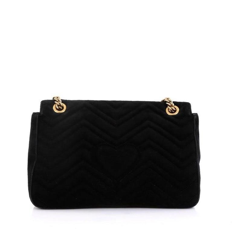 Black Gucci GG Marmont Flap Bag Embroidered Matelasse Velvet Medium For Sale