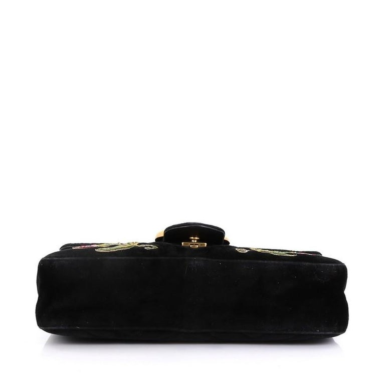 Gucci GG Marmont Flap Bag Embroidered Matelasse Velvet Medium In Good Condition For Sale In New York, NY