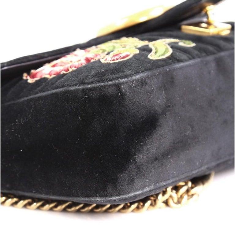 Gucci GG Marmont Flap Bag Embroidered Matelasse Velvet Medium For Sale 1