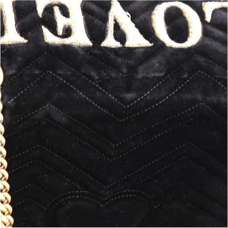 Gucci GG Marmont Flap Bag Embroidered Matelasse Velvet Medium For Sale 2