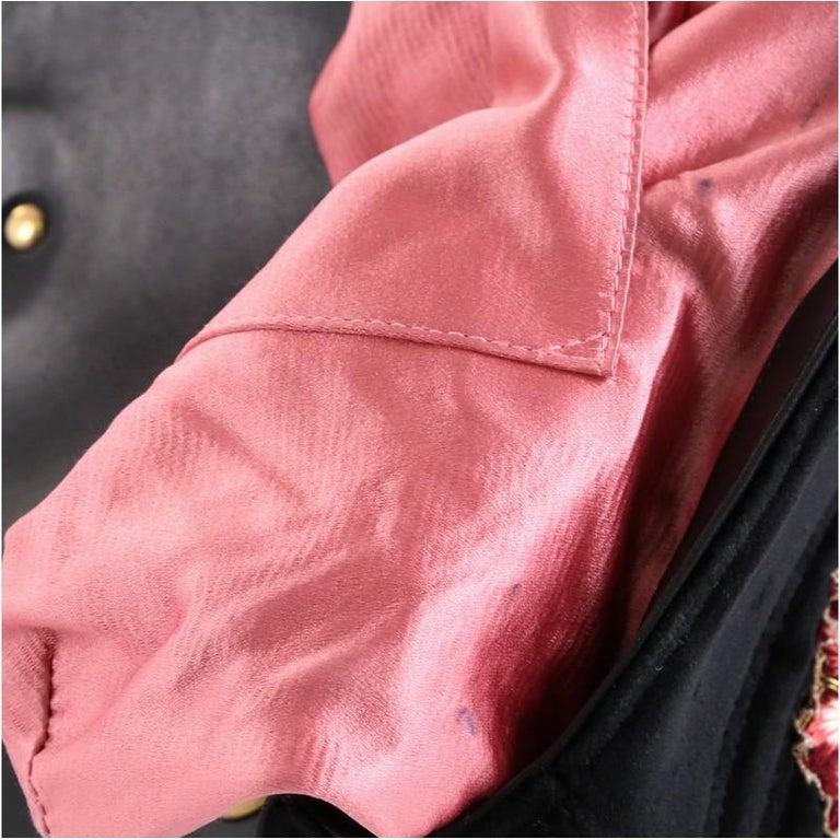 Gucci GG Marmont Flap Bag Embroidered Matelasse Velvet Medium For Sale 3