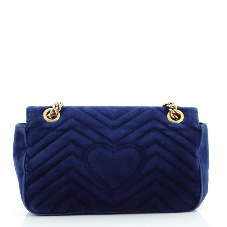 Black Gucci GG Marmont Flap Bag Embroidered Matelasse Velvet Small For Sale