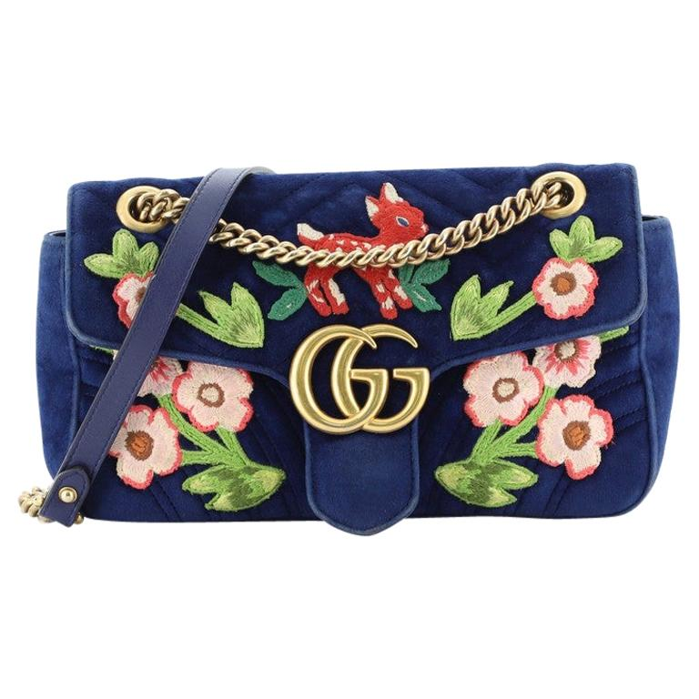 Gucci GG Marmont Flap Bag Embroidered Matelasse Velvet Small For Sale