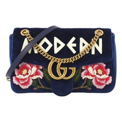 Gucci GG Marmont Flap Bag Embroidered Matelasse Velvet Small