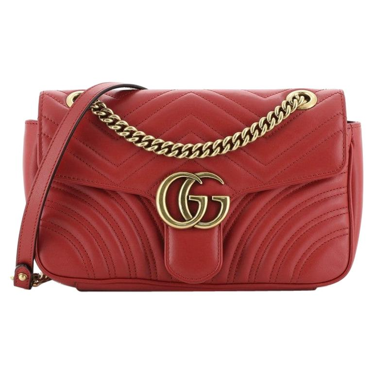 Gucci GG Marmont Flap Bag Matelasse Leather Small For Sale