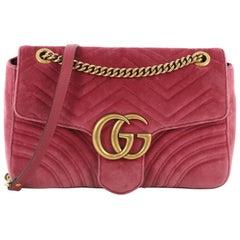 Gucci GG Marmont Flap Bag Matelasse Velvet Medium