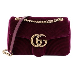 Gucci GG Marmont Flap Bag Matelasse Velvet Medium