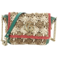 Gucci GG Marmont Flap Bag Raffia Small