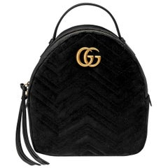 Gucci GG Marmont Leather Trimmed Quilted Velvet Backpack